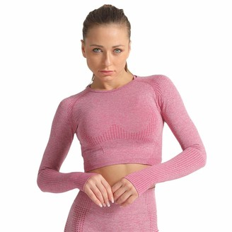 SotRong Long Sleeve Crop Tops for Women Activewear Workout Yoga Gym Top Lounge T Shirts Ladies Sportswear Purple L