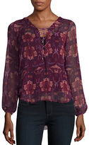 Jessica Simpson Morgan Printed Lace-Up Blouse