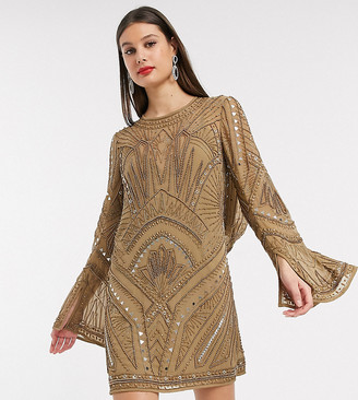 Asos Tall ASOS DESIGN Tall shift super mini dress with cowl back and armour embellishment