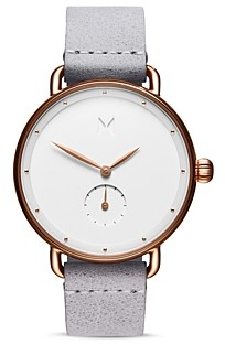 MVMT Bloom Ghost Iris Leather Strap Watch, 36mm