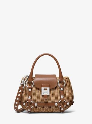 Michael Kors Bancroft Mini Rattan and Leather Basket Bag