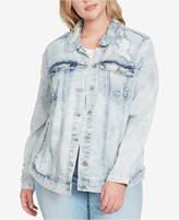 Jessica Simpson Trendy Plus Size Bleached Distressed Denim Jacket