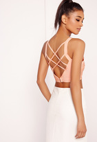 Missguided Criss Cross Strap Back Bandage Bralet Nude