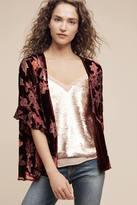 Anthropologie Ruffled Velvet Kimono