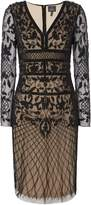 Adrianna Papell Long Sleeve V Neck Beaded Shift Dress