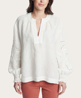 Frye Women's Blouses BRIGHT - Bright White Embroidered-Sleeve Puff-Sleeve Notch Neck Top - Women
