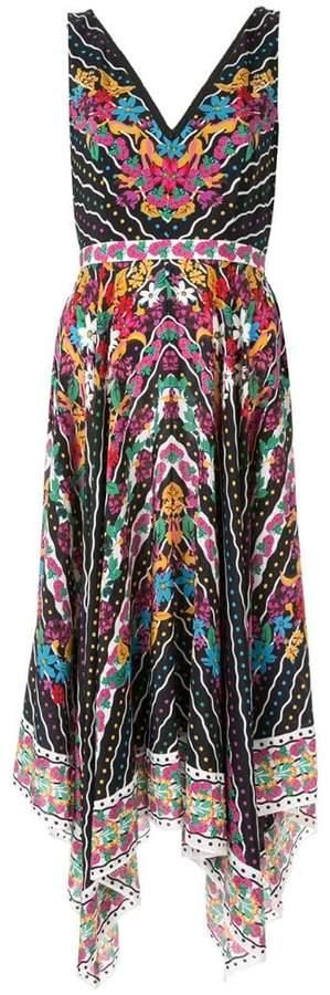 Saloni floral flared midi dress