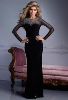 Terani Couture Long Sleeved Jewel Neck Sheath Dress E2162W