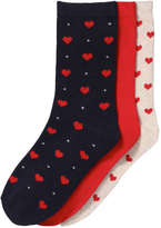 Joe Fresh Kid Girls' 3 Pack Assorted Socks, Red (Size 3-6)