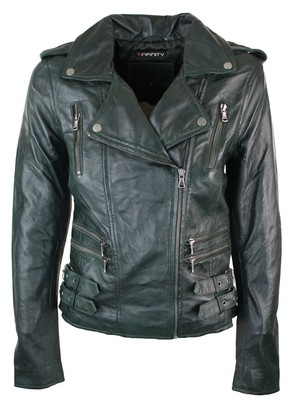 Infinity Womens Ladies Real Soft Leather Racing Style Biker Jacket NEW