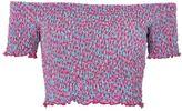 Topshop PETITE Shirred Floral Print Bardot Top
