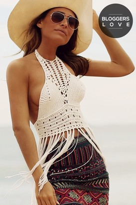 Girls On Film Cream Crochet Knit Halter Top