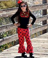 Beary Basics Black Apple Top & Red Dot Ruffle Pants Set - Infant Toddler & Girls