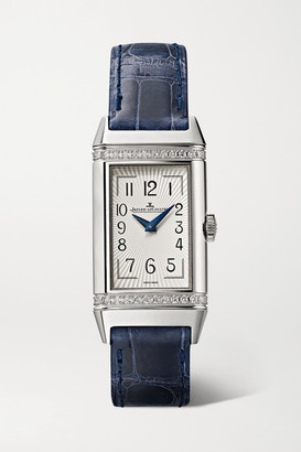 Jaeger-LeCoultre Reverso One Duetto 20mm Stainless Steel, Diamond And Alligator Watch - Navy