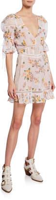 For Love & Lemons Isadora Floral Mini Puff-Sleeve Dress