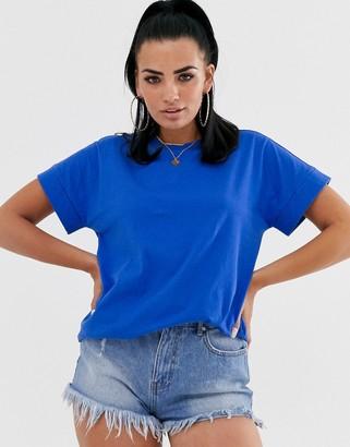 Asos Design DESIGN oversized boyfriend t-shirt with roll sleeve in blue