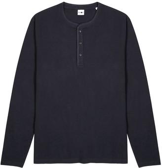 NN07 Navy cotton-jersey henley top