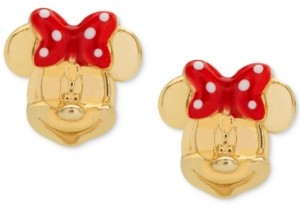 Disney Children's Minnie Mouse Bow Stud Earrings in 14k Gold