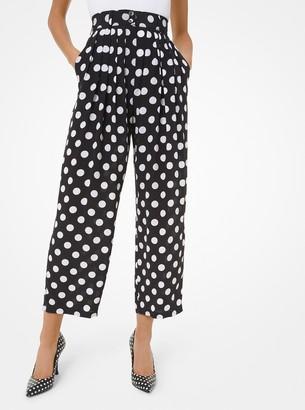 Michael Kors Polka Dot Silk Crepe De Chine Pleated Cropped Trousers