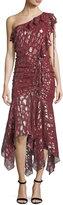 Veronica Beard Leighton One-Shoulder Metallic Silk Dress