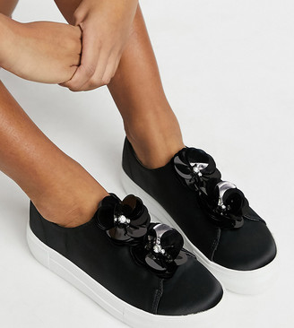 Simply Be wide fit flower sneakers in black
