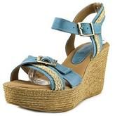 Azura Frappe Women Open Toe Leather Wedge Sandal.
