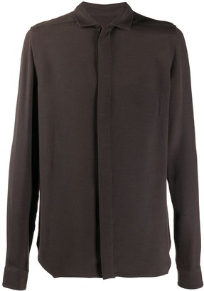 Rick Owens Long Sleeve Concealed Placket Shirt