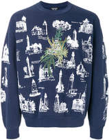Creatures of the Wind building print sweatshirt