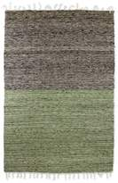 Geometric Wool Area Rug Olive Champagne Coal Black (4x6), 'Nocturnal Meadow'