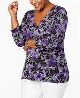 Karen Scott Plus Size Printed Sweater, Created for Macy's