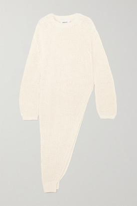 Nanushka Rodi Asymmetric Ribbed Cotton-blend Sweater - White