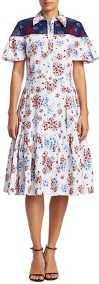 Carolina Herrera Floral Flutter Sleeve Flounce Shirtdress