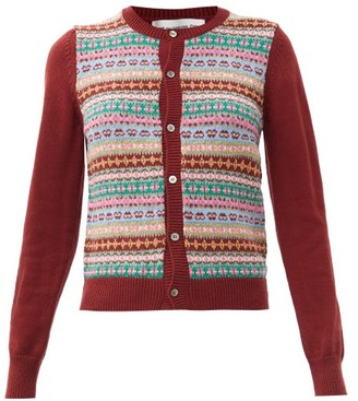 COMME DES GARÇONS GIRL Fair Isle Wool-blend Cardigan - Burgundy Multi