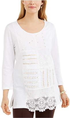 JM Collection Cotton Crochet Patchwork Top