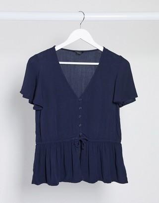 Monki Yrsa waisted blouse in navy