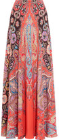 Etro Printed Silk Crepe De Chine Maxi Skirt - Coral