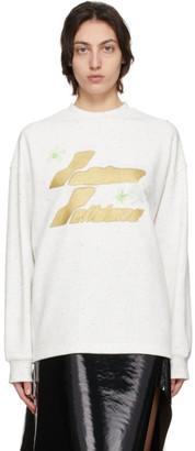 we11done White Logo Print Long Sleeve T-Shirt