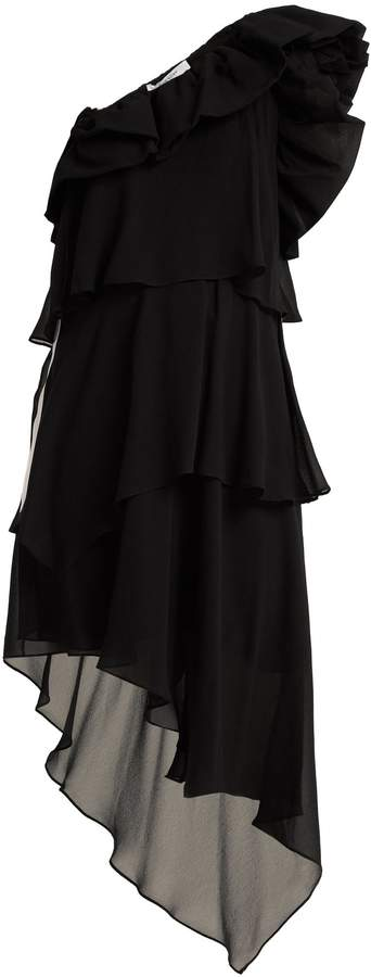 Givenchy Ruffled one-shoulder silk-georgette dress