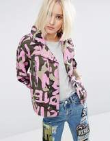 Asos Camo Jacket With All Over Word Print