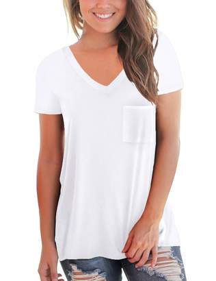 Summer Flowy Tops for Women V-Neck Short Sleeve White Shirts Cute Pocket Tees Oversized