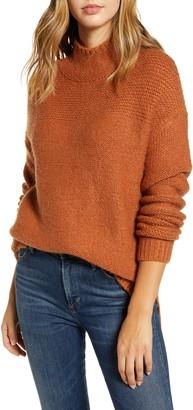 Caslon Mock Neck High Low Sweater
