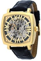 Adee Kaye #AK2259-MG Men's Gold Tone Leather Strap Self Winding Automatic Skeleton Dial Watch