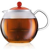 Bodum Assam Tea Press with Glass Handle and Coloured Plastic Lid 1.5L, 51oz Red (Pack of 6)