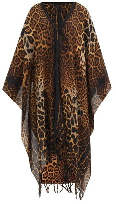 Saint Laurent Leopard-print Wool Poncho - Animal