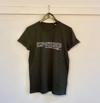 Beyond B - Empowered Female Society Organic Cotton T-Shirt in Grey - M/UK12