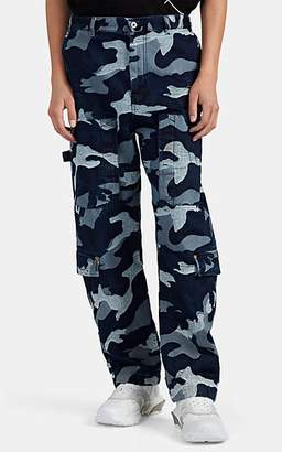 Valentino Men's Camouflage-Jacquard Denim Cargo Pants - Blue