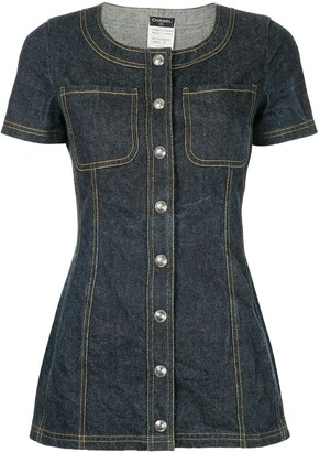 Chanel Pre Owned Shortsleeved Denim Mini Dress