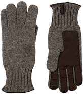 Barneys New York Men's Leather-Accented Cashmere Gloves-GREY