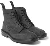 Tricker's Stow Nubuck Brogue Boots - Gray