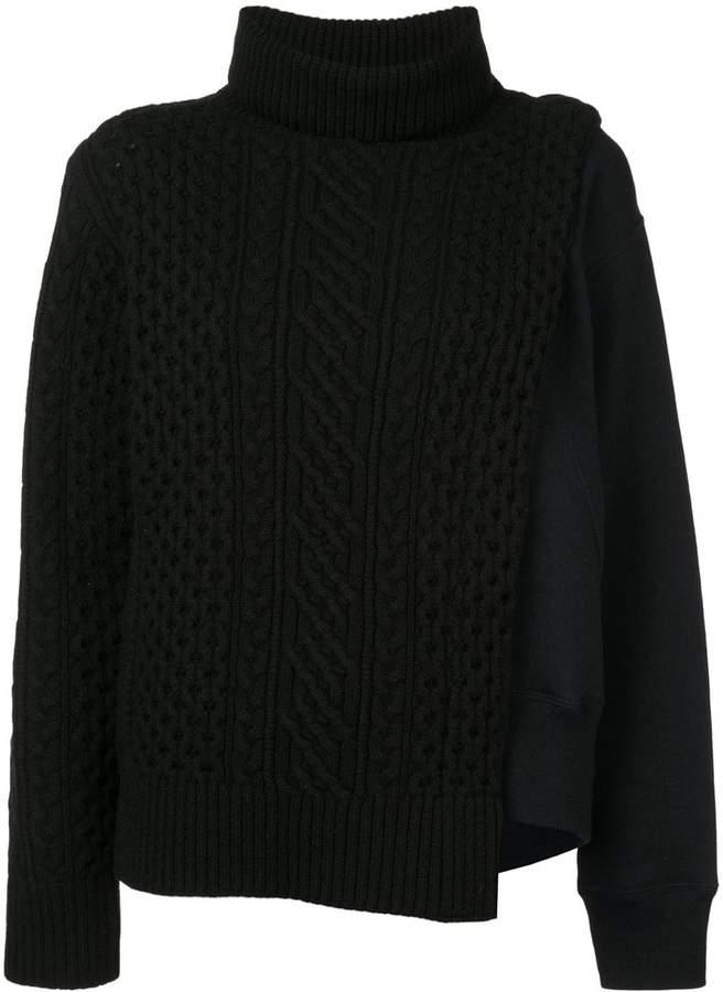 Sacai layered cable knit tabard sweatshirt